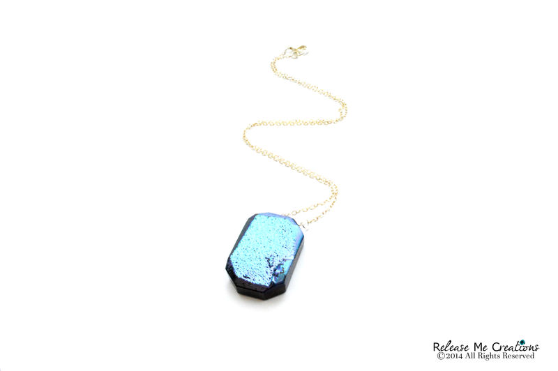 Iridescent Metallic Blue Druzy Necklace - product image