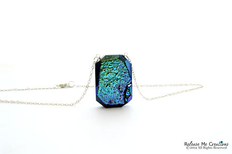 Iridescent,Metallic,Blue,Druzy,Necklace,druzy, blue, green, necklace, for her, gift, fashion, flashy, jewelry
