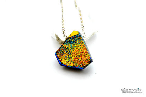 Iridescent,Golden,Blue,Druzy,Necklace