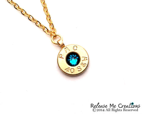 Bullet,Birthstone,Necklace,bullet, birthstone, swarovski, for her, necklace, gift, birthday, police woman, military, outdoorswoman