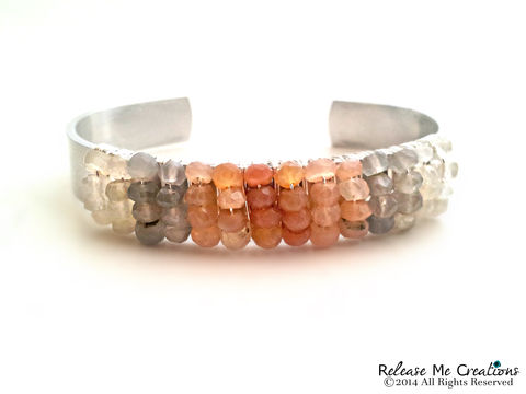 Ombre,Peach,Moonstone,Wrapped,Silver,Bracelet,ombre, peach, gray, white, bracelet, moonstone, microfaceted, gemstone, boho, bohemian jewelry, fashion