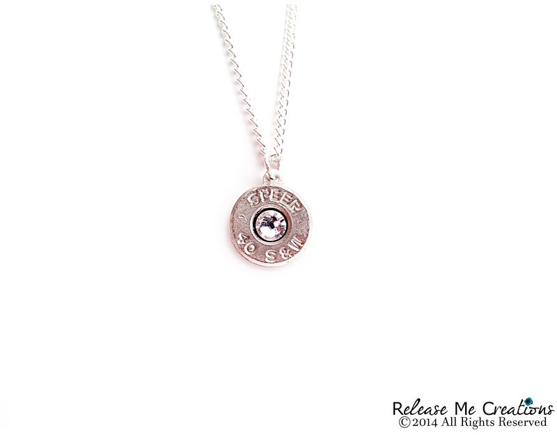 Silver Smith & Wesson Bullet Birthstone Necklace - product image