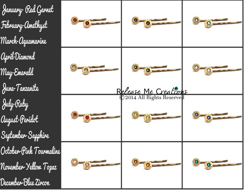 Gold Smith & Wesson Bullet Birthstone Bobby Pin Hair Barrettes - product image