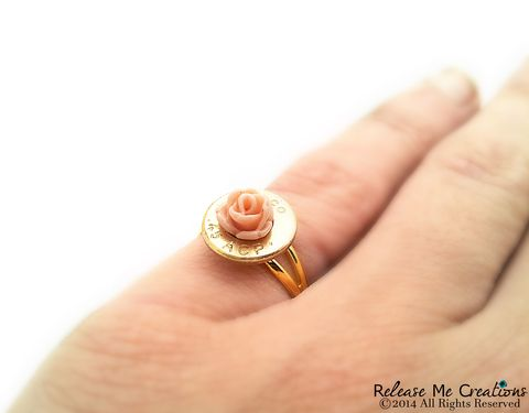 Blooming,Rose,Gold,Bullet,Ring,bullet, ring, flower, rose, pink, gold, for her, bullet jewelry, country, bride, bridesmaid
