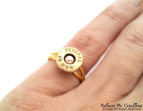Pearl,Bullet,Gold,Ring,Smith,and,Wesson,bullet, pearl, jewelry, ring, for her, smith and wesson, bullet ring