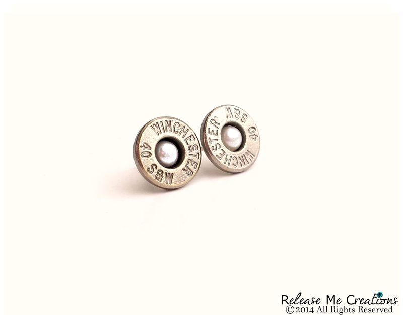 Pearl Bullet Stud Silver Earrings Smith and Wesson - product image