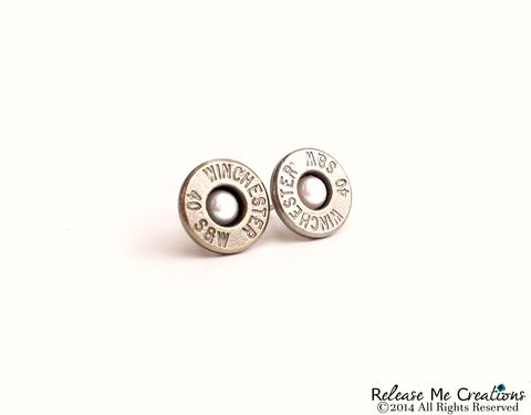 Pearl,Bullet,Stud,Silver,Earrings,Smith,and,Wesson,bullet, silver, jewelry, earring, stud, smith and wesson, pearl, swarovski