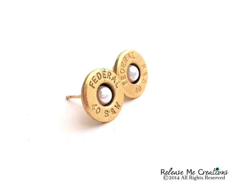 Pearl Bullet Stud Gold Earrings Smith and Wesson - product image