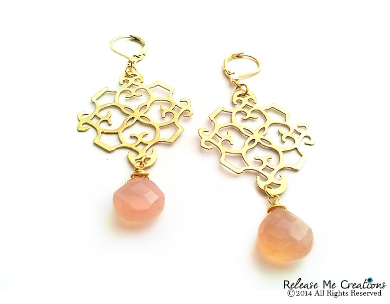 Peachy Pink Chalcedony Gold Filigree Chandelier Earrings - product image