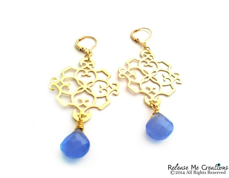 Indigo Blue Chalcedony Gold Filigree Chandelier Earrings - product image