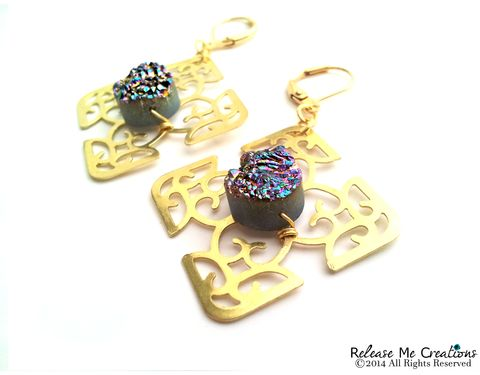 Rainbow,Titanium,Druzy,Celtic,Cross,Gold,Filigree,Chandelier,Earrings,earring, filigree, celtic cross, gold, druzy, drusy, rainbow, for her, romantic, chandelier earrings