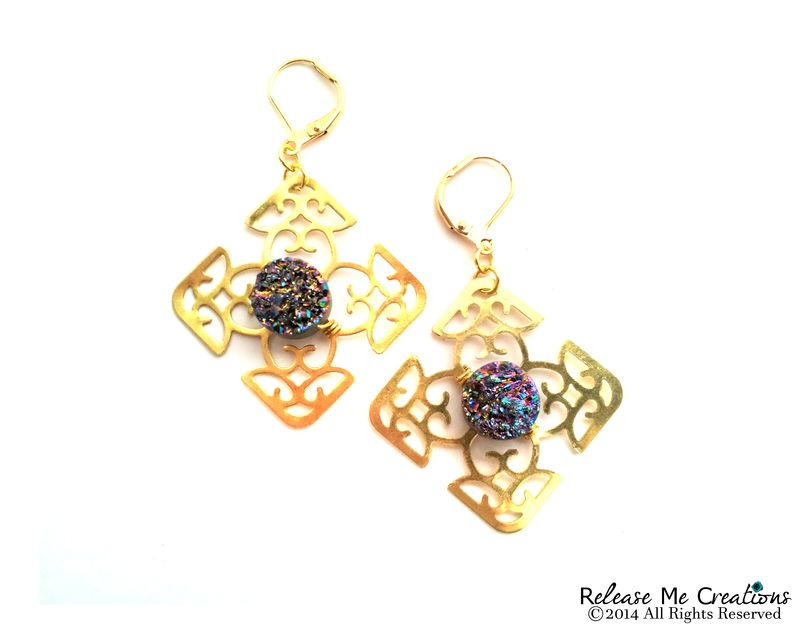 Rainbow Titanium Druzy Celtic Cross Gold Filigree Chandelier Earrings - product image