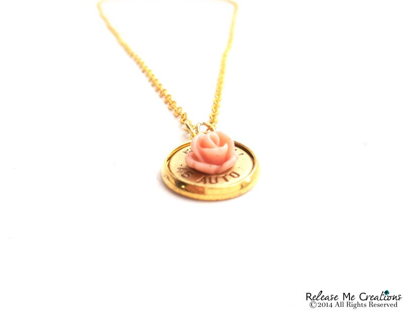 Blooming Rose Bullet Pendant Gold Necklace - product image