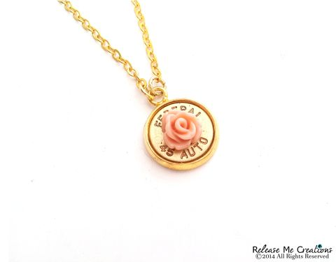 Blooming,Rose,Bullet,Pendant,Gold,Necklace,rifle, bullet, for her, bullet jewelry, necklace, winchester, rose, pink, coral