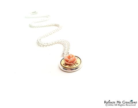 Blooming,Rose,Bullet,Pendant,Sterling,Silver,Filled,Necklace,bullet, rifle, sterling, jewelry, necklace, for her, rose, coral, pink, winchester, military, police