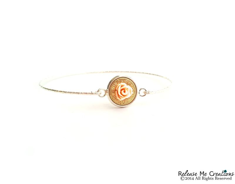 Blooming Rose Bullet Silver Bangle Bracelet - product image