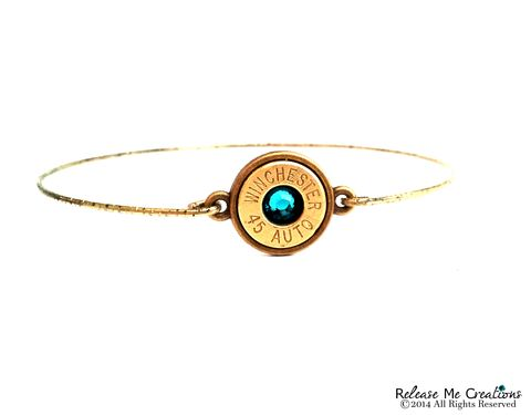 Bullet,Birthstone,Brass,Bangle,smith & wesson, birthstone, bullet, for her, bullet jewelry, necklace, winchester, rose, pink, coral
