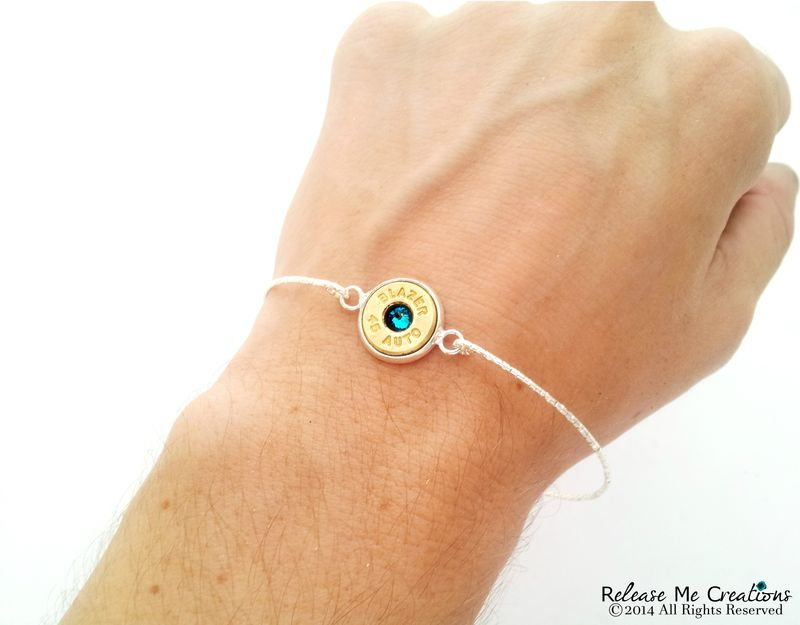 Bullet Birthstone Silver Bangle - product image