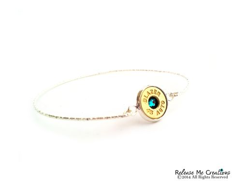 Bullet,Birthstone,Silver,Bangle,bullet bracelet, bangle, silver birthstone, birthday, for her, military, outdoors, police woman