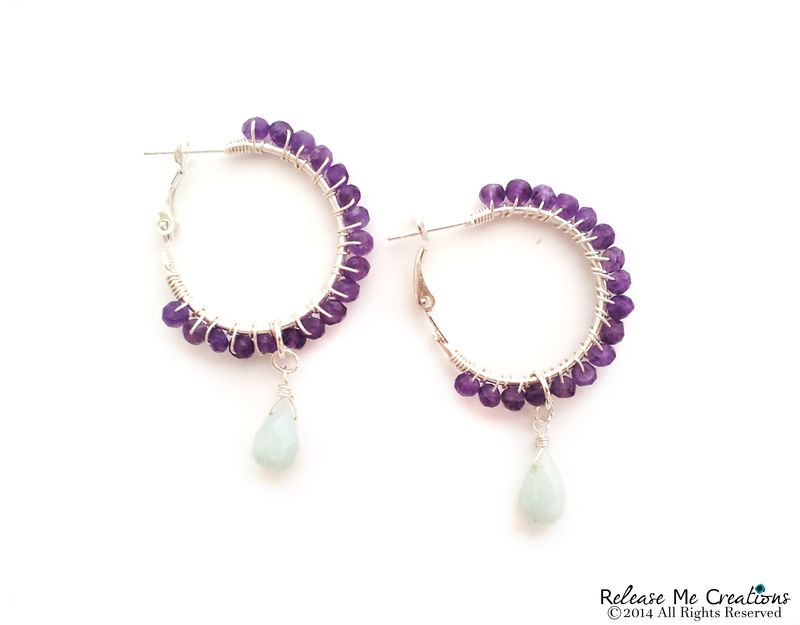 Amethyst and Opaque Blue Chalcedony Silver Hoop Earrings - product image