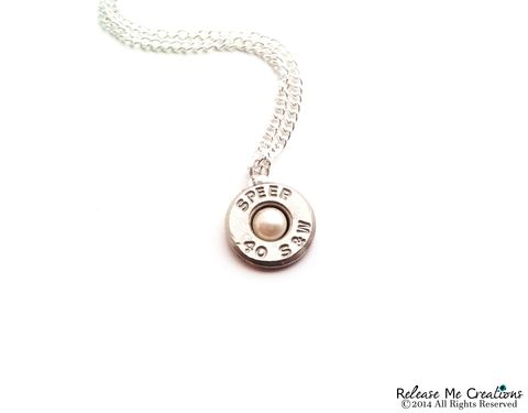 Pearl,Silver,Bullet,Necklace,Smith,&,Wesson,bullet, swarovski, smith and wesson, for her, necklace, pearl, country, wedding, bride, bridesmaid, outdoor, police woman, military, nra jewelry