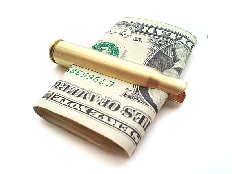 Rifle Bullet Bill Fold Money Clip For Him - product image
