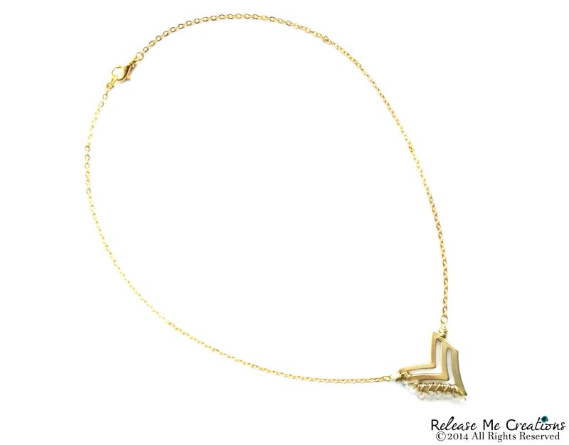 Gemstone Gold Chevron Necklace - product image