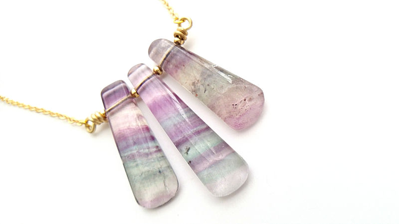 Blue Green Banded Triple Fluorite Necklace - product image