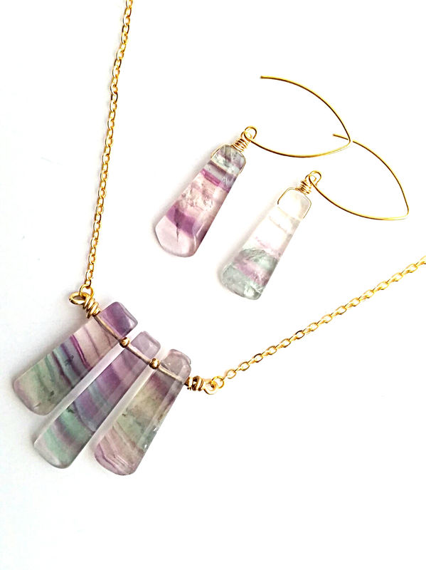 Blue Green Banded Fluorite Drop Hook Earrings - product image