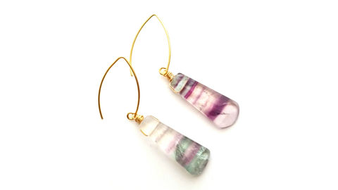 Blue,Green,Banded,Fluorite,Drop,Hook,Earrings