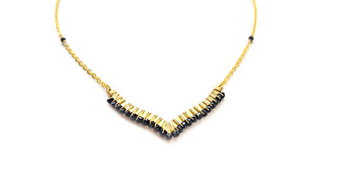 Black,Spinel,V,Gold,Necklace,black spinel, gold, for her, gemstone, the real talk show jewelry, black and gold, necklace, gift