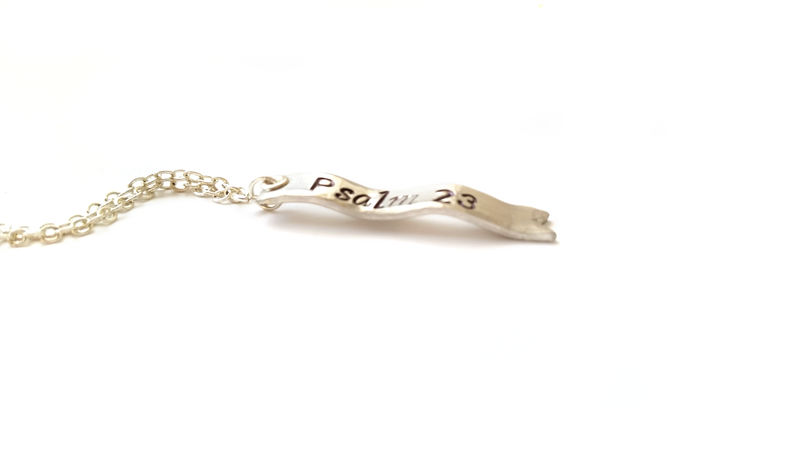 Sterling Silver Uplift Verse Vertical Ribbon Banner Necklace  - product image