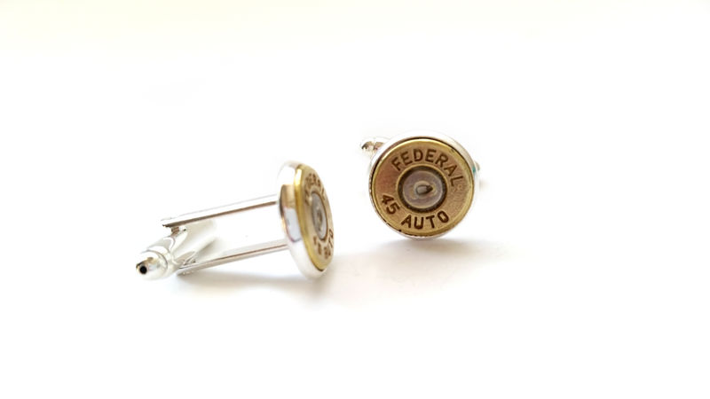 Mens Streamlined 45Cal Bullet Cufflinks Silver Antiqued Brass Military Police Security Hunter Outdoors Country Cowboy - product image