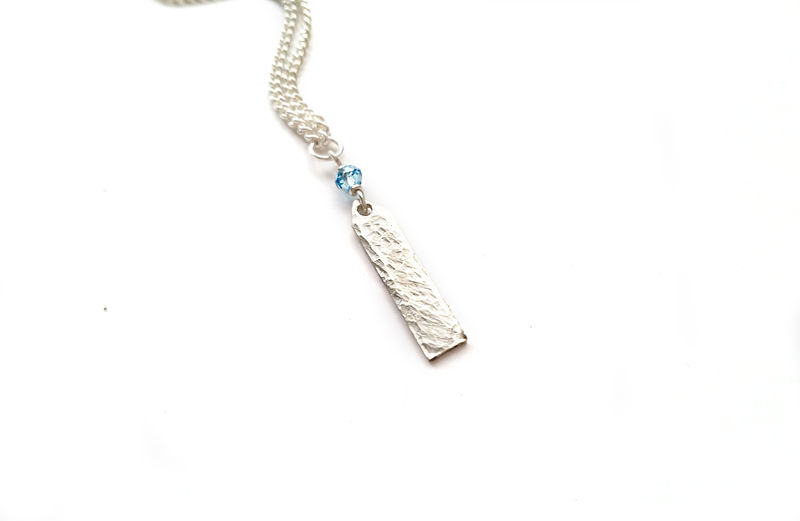 Sterling Silver Hammered Ethereal Aquamarine Necklace - product image