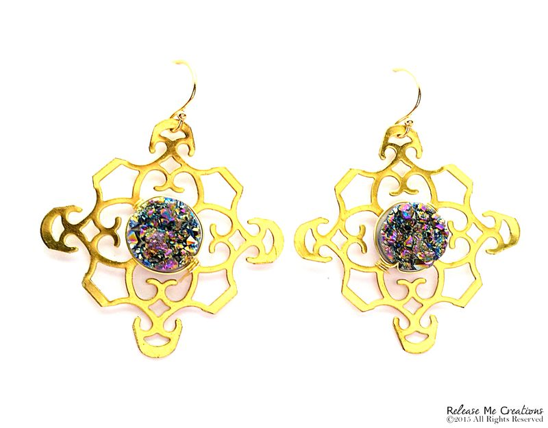 Rainbow Druzy NuGold Filigree Earrings 14k Gold Filled Earwires - product image