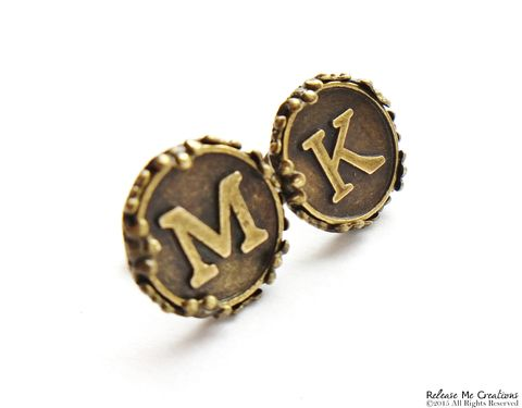 Custom,Monogram,Initial,Anqique,Brass,Stud,Earrings,For,Her,monogram, custom, initials, alphabet charm, earring, stud, brass, for her, jewelry, gift, boho, bohemian, bohochic