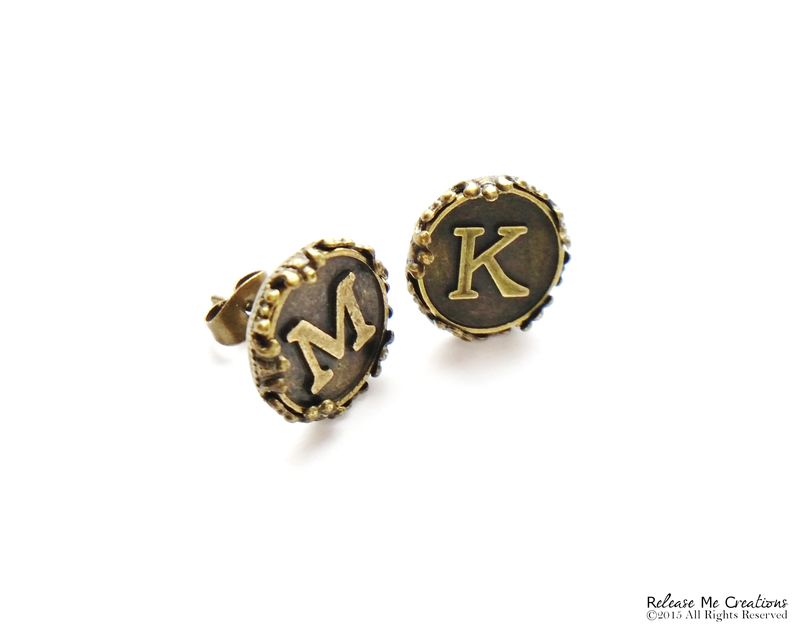 Custom Monogram Initial Anqique Brass Stud Earrings For Her - product image