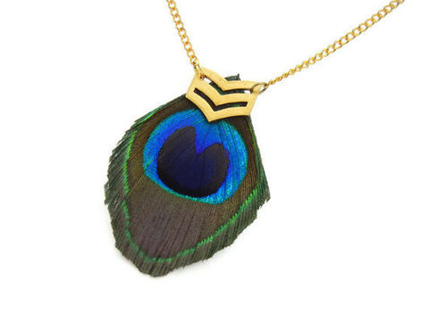Military,Peacock,Feather,Chevron,Necklace,gift, for her, romance, military, edgy, rocker, chic, bohemian, theartisangroup, feather, peacock, green, blue, gold, chevron