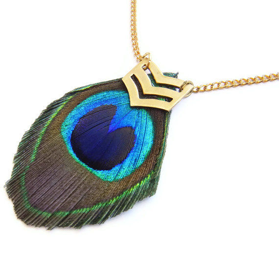 Military Peacock Feather Chevron Necklace - product image