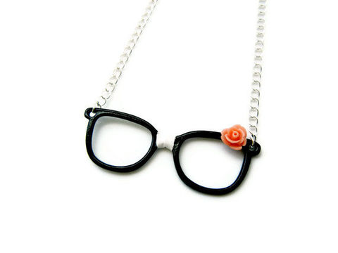 Retro,Nerdy,Glasses,Necklace,retro, glasses, nerd, nerdy, for her, pink, black, white, gift idea, necklace