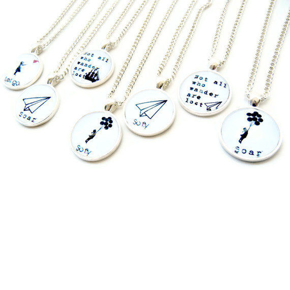Not All Who Wander Are Lost Paper Airplane Necklace Academy Awards - product image