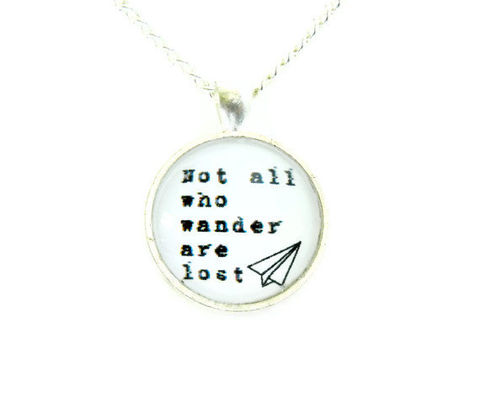 Not,All,Who,Wander,Are,Lost,Paper,Airplane,Necklace,Academy,Awards,wanderlust, black and white, silhouette, paper airplane, tolkien, thehobbit, celebrity, theartisangroup, academyawards, for her, necklace, jewelry, gift idea