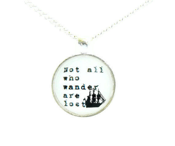 Wanderlust Clipper Ship Silhouette Necklace Not All Who Wander Are Lost - product image