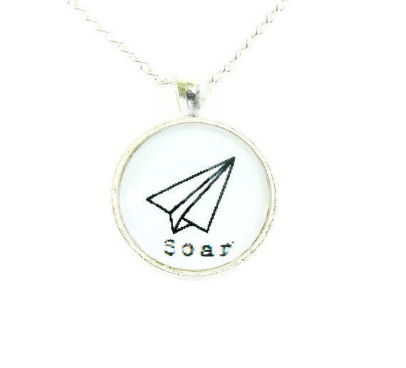 Whimsical Soar Paper Airplane Necklace - product image