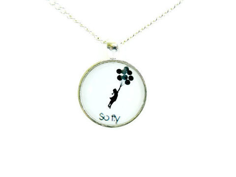 Banksy,Balloon,Girl,So,Fly,Necklace,celebrity, theartisangroup, banksy, balloongirl, whimsical, black and white, silhouette, for her, gift idea, necklace, so fly