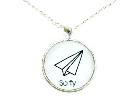 Whimsical,So,Fly,Paper,Airplane,Necklace,paper airplane, sofly, academyawards, celebrity, silhouette, black and white, necklace, for her, gift idea, romantic, whimsical