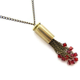 Red,Swarovski,Crystal,Bullet,Necklace,gift, for her, blood red, red, swarovski crystal, bicone, bronze, brass, bullet, 9mm, gun, vampire, steampunk, gothic, dark, romantic