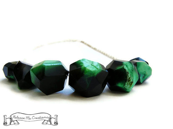 Black Green Geometric Agate Gemstone Necklace - product image