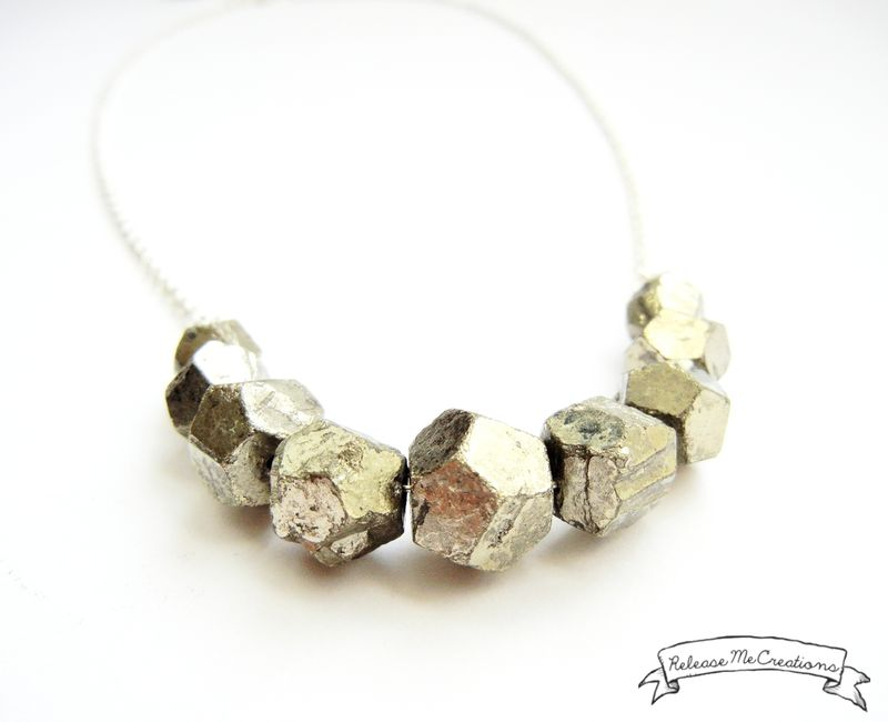 Faceted Pyrite Gemstone Necklace - product image