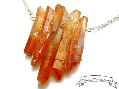 Tangerine,Aura,Quartz,Dream,Necklace,tangerine quartz, tangerine aura quartz, aura quartz, quartz, healing quartz, healing gemstone, healing jewelry, jewelry for her, necklace, for her, necklace for her, gemstone necklace, release me creations